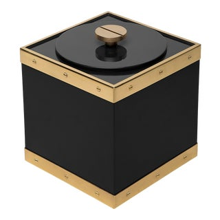 Flair Home Collection Edge Ice Bucket in Black / Brass For Sale