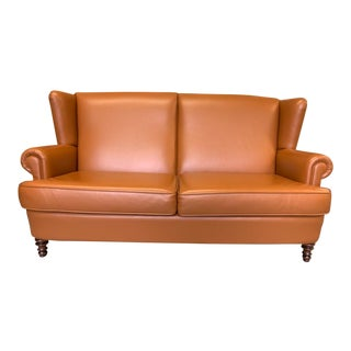 Vintage Belgian Leather 2 Seat Wingback Sofa, Camel For Sale