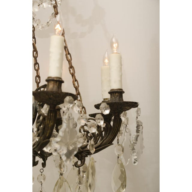 Iron and Crystal Converted Gas Light Chandelier For Sale In New York - Image 6 of 7