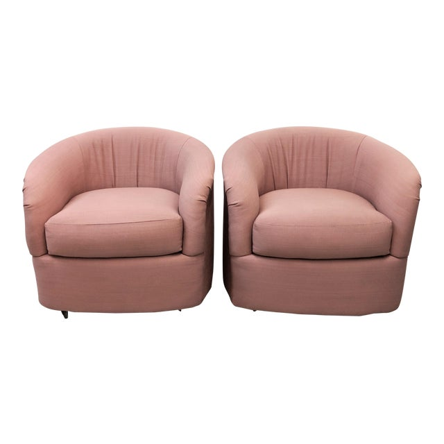 Modern Pink Barrel Back Lounge Chairs- A Pair For Sale