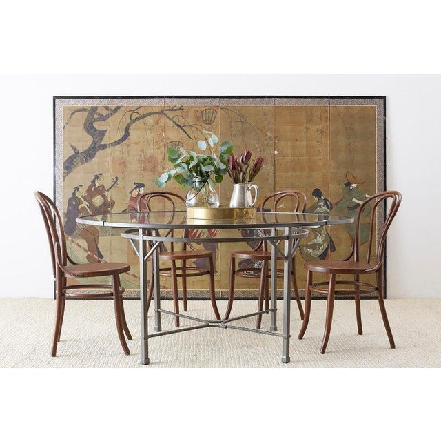 Neoclassical style aluminum garden patio table designed by Richard Frinier for Brown Jordan. 60 inch large round diameter...