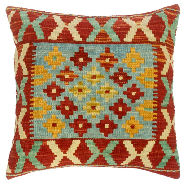 """Christee Red/Lt. Blue Hand-Woven Kilim Throw Pillow(18""""x18"""") For Sale In New York - Image 6 of 6"""