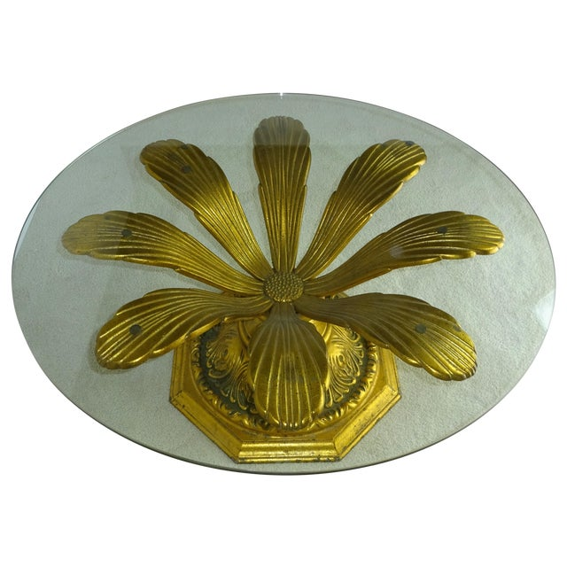 Cast Gilt Aluminum Sunflower Table with Glass Top For Sale