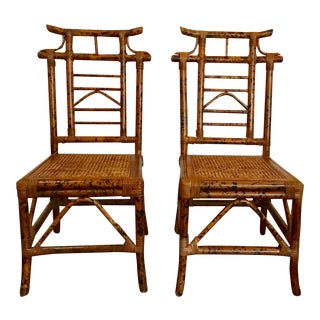 1970s Asian Pagoda Bamboo Side Chairs - a Pair For Sale