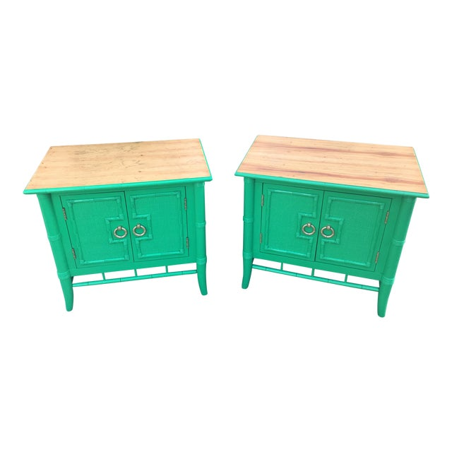 Vintage Thomasville Faux Bamboo Green Nightstands - A Pair - Image 1 of 10