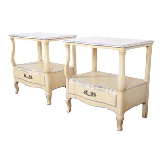 John Widdicomb French Provincial Louis XV Style Nightstands, Pair For Sale