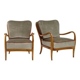 Austrian Modernist Walnut Armchairs For Sale