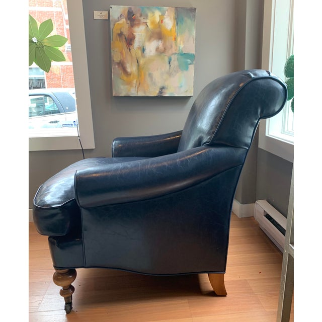 Traditional Tcs Designs Blue Vegan Leather Chair For Sale - Image 3 of 4