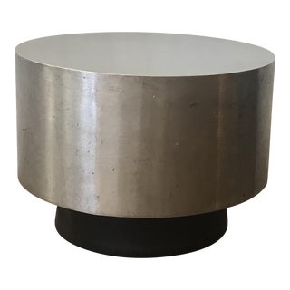 1950's Mid-Century Modern Paul Mayen for Habitat Polished Steel and Black Drum Cocktail Table For Sale