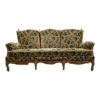 French Vintage Louis XV Style Floral Velvet Upholstery Mid Century Settee Sofa For Sale