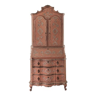 Early 20th Century Coral Painted Venetian Style Secretary For Sale