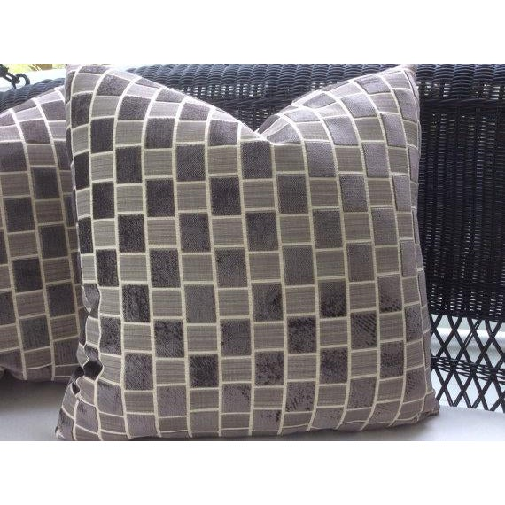 Contemporary Pollack Pillows in Taupe & Gray Geometric Plush Raised Velvet - a Pair For Sale - Image 3 of 5