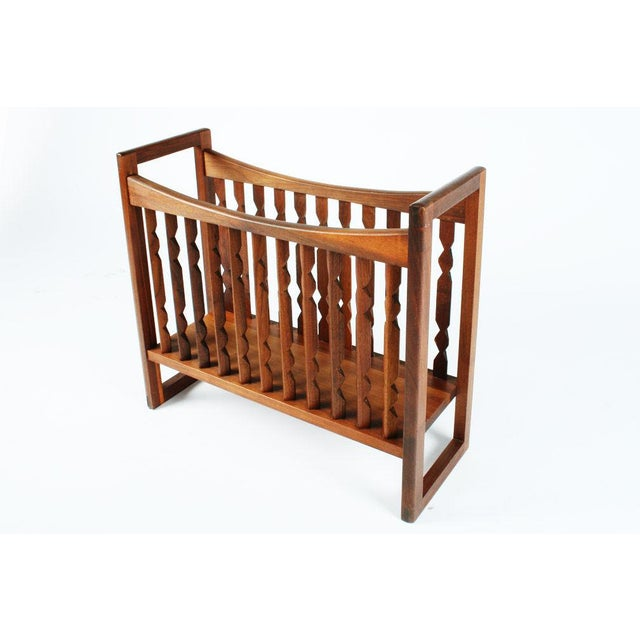 "Mid-Century Modern Drexel Wooden ""Crib"" Magazine Stand For Sale - Image 3 of 6"
