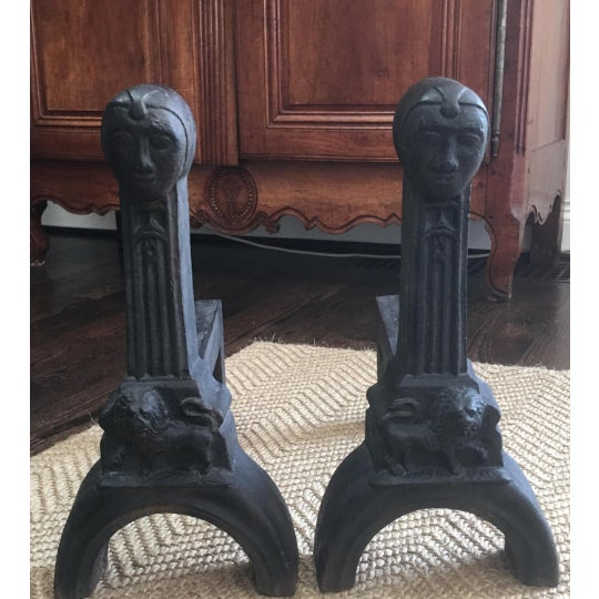 Early 20th Century Figural Cast Iron Andirons - a Pair For Sale In Kansas City - Image 6 of 7