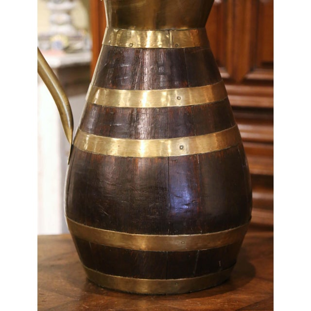 French Country 19th Century French Oak and Brass Banded Cider Pitcher Jug From Normandy For Sale - Image 3 of 11