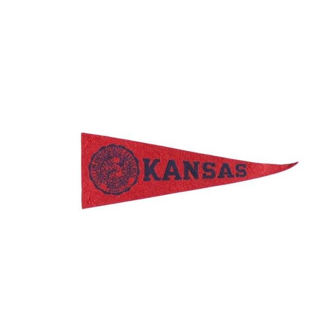 Mini Vintage University of Kansas Felt Flag Pennant For Sale