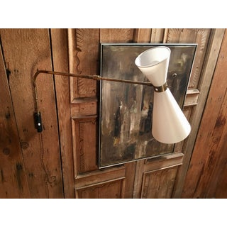 Vintage Articulating Brass With Linen Shade Sconce Preview