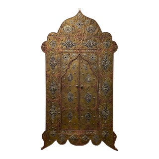 Exquisite Arched Brass and Metal Mirror With Door For Sale