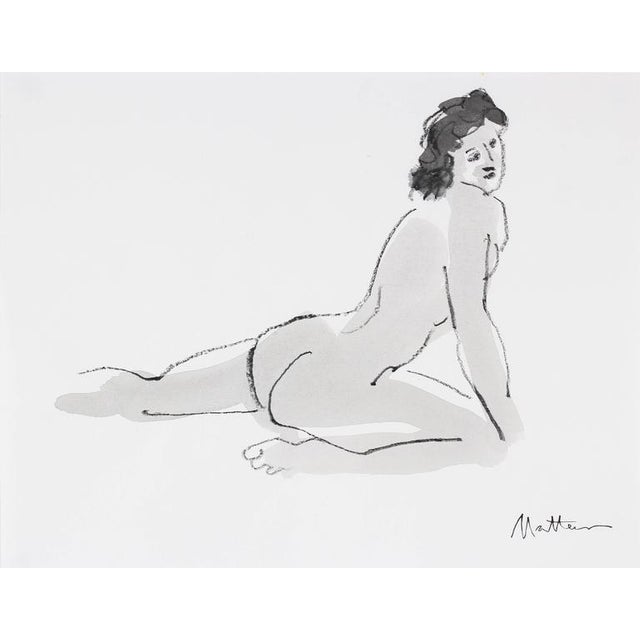 This mid to late 20th century ink and charcoal female figure on paper is by Oakland artist Rip Matteson (1920-2011)....
