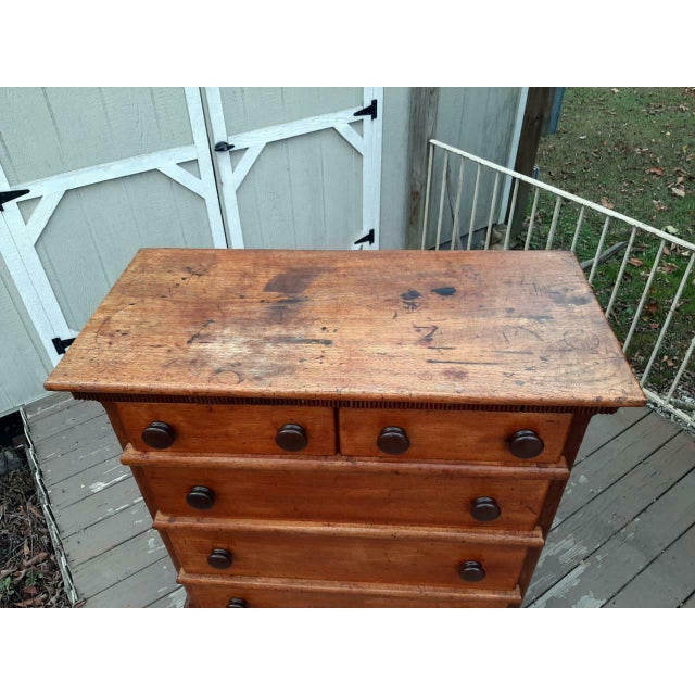 Late 1700's Early 1800's Antique Primitive Farmhouse Solid Chestnut Chest of 5 Drawers For Sale - Image 9 of 13