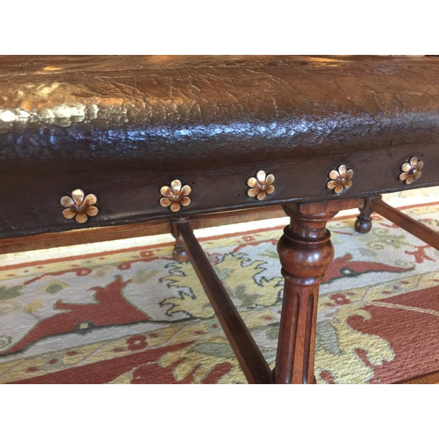 Antique Henry II Walnut & Tooled Leather Bench - Image 2 of 6