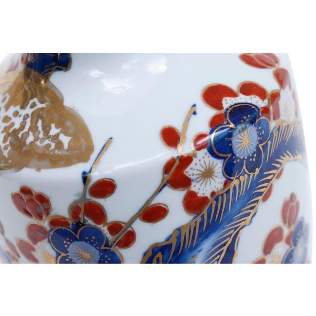 Imari Porcelain Gold Imari Japanese Porcelain Floral Vase For Sale - Image 4 of 6
