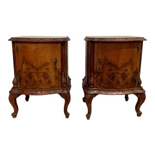 1920 Venetian Side Cabinets in Figured Walnut Hand Carved Moldings - a Pair For Sale