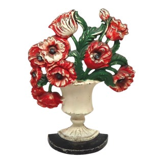 Vintage 1930s Hubley Cast Iron Poppy Flowers Doorstop For Sale