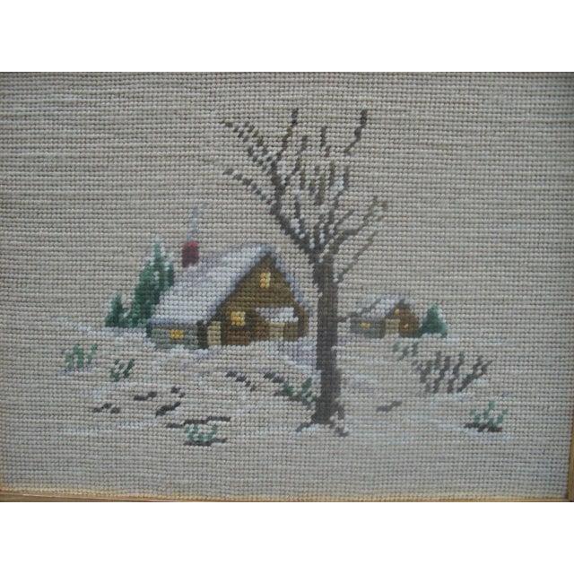 Winter Scene Needlepoint in Green Frame - Image 3 of 3
