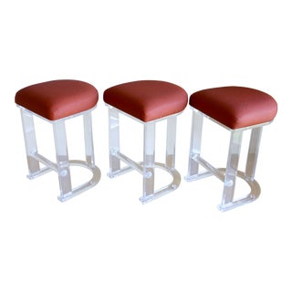 Mid Century Vintage Lucite Hill Manufacturing Counter Bar Stools- Set of 3 For Sale