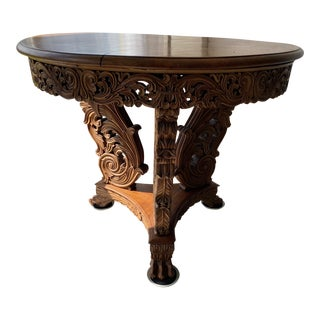 Antique Burmese Carved Dining Table For Sale