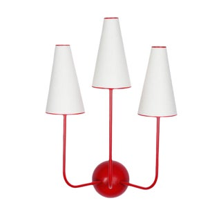 Three-Arm Red Wall Lamp in the Style of Jean Royère For Sale