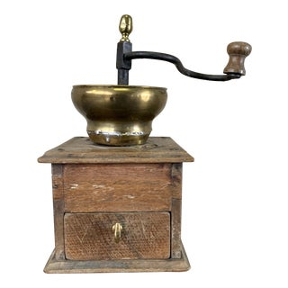 Antique Wood and Metal Coffee Grinder For Sale