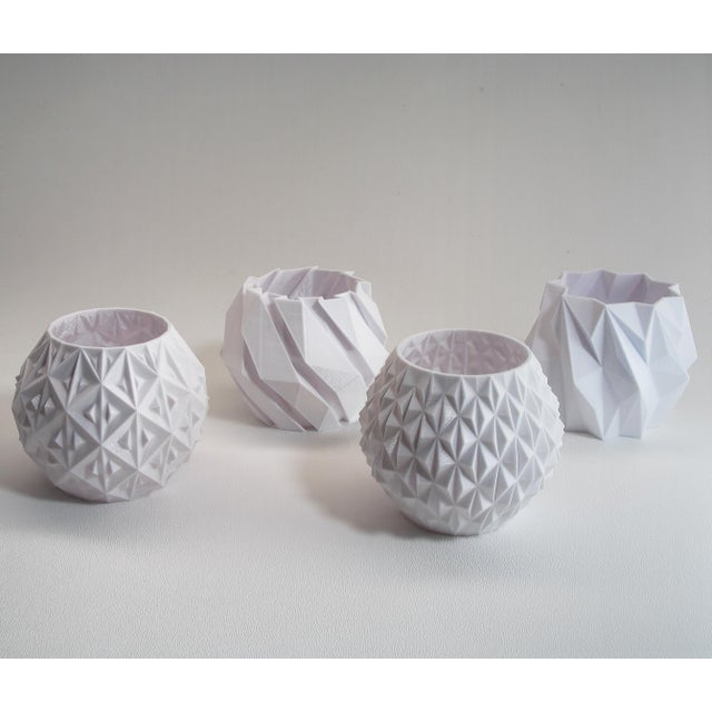 Small White Geometric Planters - Set of 4 For Sale - Image 4 of 4