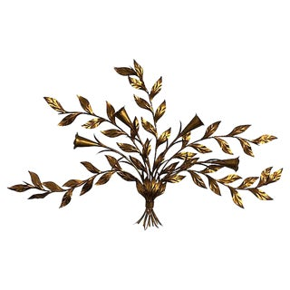1960s Gilt Metal Floral Wall Sculpture For Sale