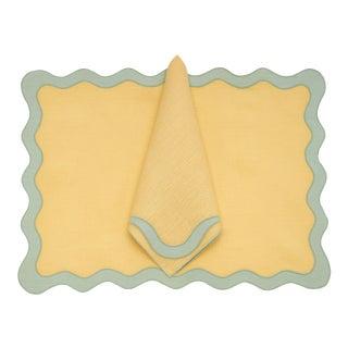 Moda Domus x Chairish Exclusive Scalloped Linen Placemat + Napkin Colorblock Set For Sale