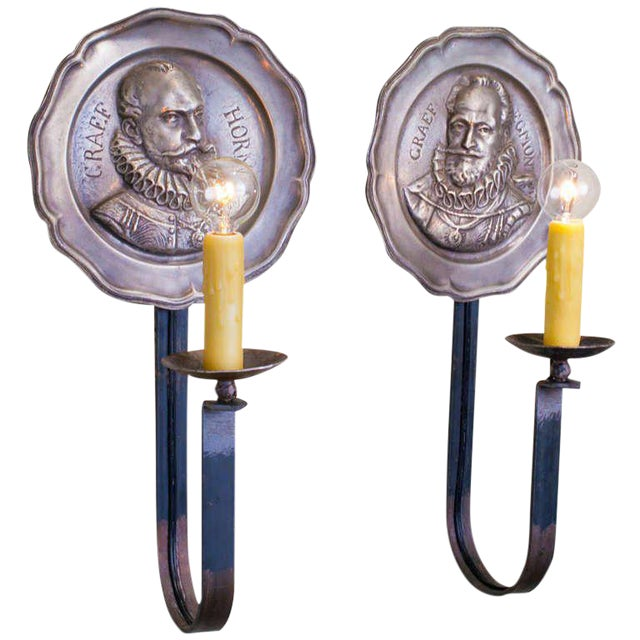 Pair of Vintage Figural Pewter Sconces with Iron Arms For Sale