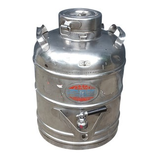 Large Vintage Stainless Thermal Coffee Carrier