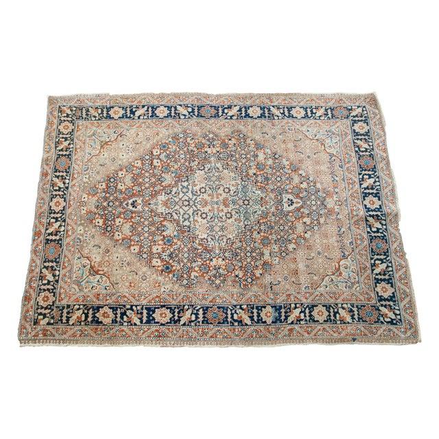 """Fine Antique Tabriz Area Rug - 4'4"""" x 5'10"""" For Sale"""