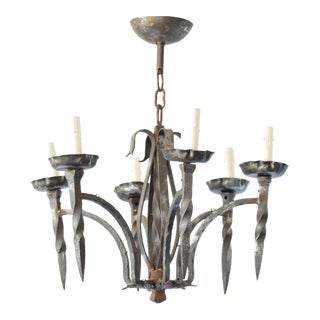 Twisted Iron Chandelier For Sale