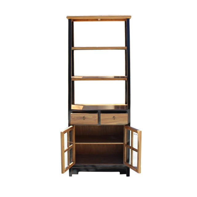 2010s Oriental Black Brown Glass Door China Bookcase Cabinet For Sale - Image 5 of 7