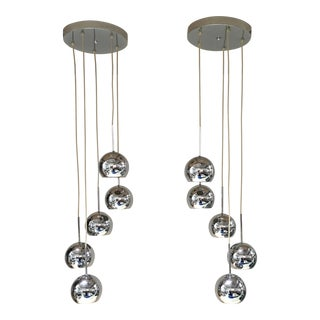 20th Century Chrome Sphere Lamps - a Pair For Sale
