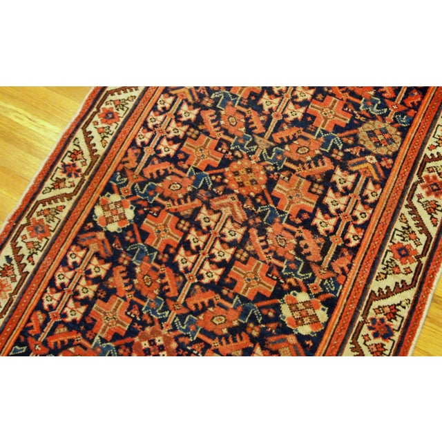 Textile 1900s Handmade Antique Persian Malayer Runner 3.1' X 12.3' For Sale - Image 7 of 9