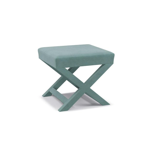 Contemporary X Bench in Aqua Velvet For Sale - Image 3 of 5