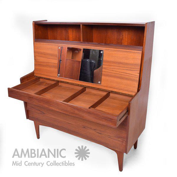 Danish Mid-Century Modern Teak Secretary Desk / Vanity Hjerm Mobelfabrik For Sale In San Diego - Image 6 of 9