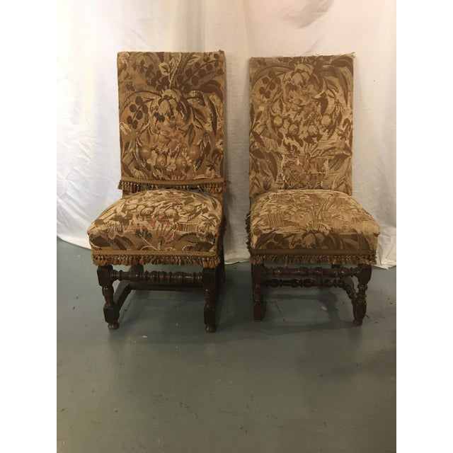 Tan Antique Louis XVIII Period Side Chairs With 19th Century Upholstery - a Pair For Sale - Image 8 of 8
