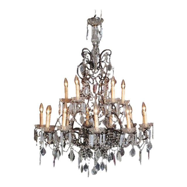 19th Century Italian 18-Light Crystal Chandelier For Sale
