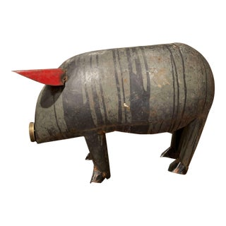 Vintage French Painted Tole Pig Made With Old Elements For Sale