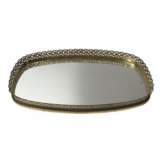 Vintage French Filigree Medium Oval Vanity Tray With Mirror For Sale