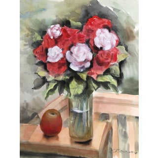 Erik Freyman, Roses and Apple, Watercolor With Pastel For Sale